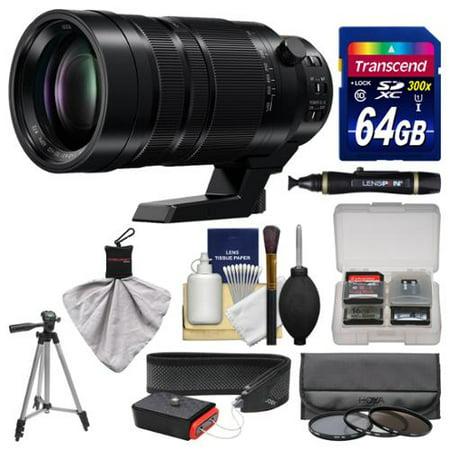 Panasonic Lumix G Vario 100-400mm f/4.0-6.3 Power OIS Zoom Lens + 64GB Card + Tripod + 3 Filters + Strap Kit for G7, GF7, GH4, GM5, GX7, GX8 Cameras