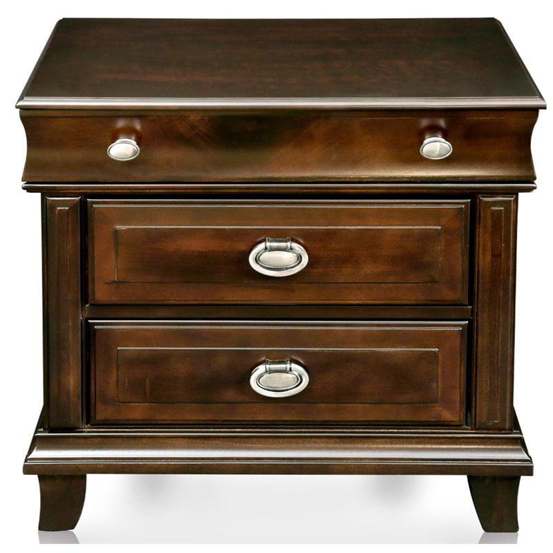 Furniture of America Semptus 3 Drawer Nightstand in Brown Cherry