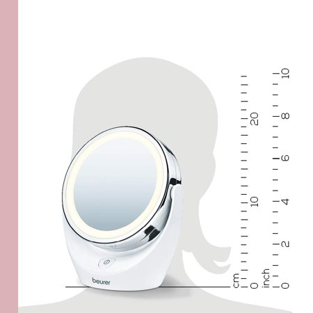 Beurer 5x Magnifying Cosmetic Vanity Makeup Mirror, Illuminated LED Mirror, Double Sided Mirror with 360 Degree Swivel Rotation, BS49
