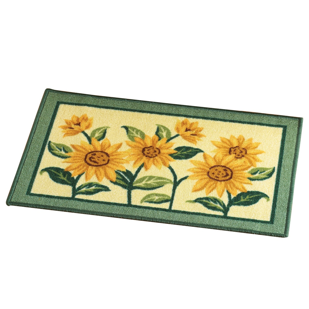 Sunflower Floral Woven Accent Rug, Multi by Collections Etc