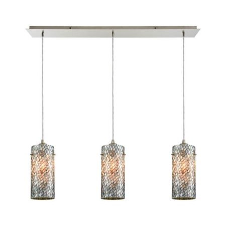 Elk Lighting Capri - Three Light Linear Pendant, Satin Nickel Finish with Gray Capiz Shells Glass