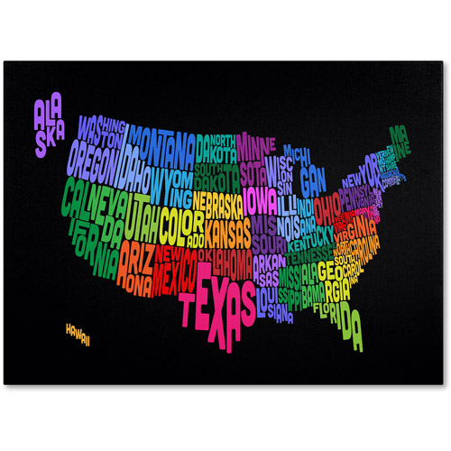 Trademark Art 'USA States Txt Map' Canvas Art by Michael Tompsett