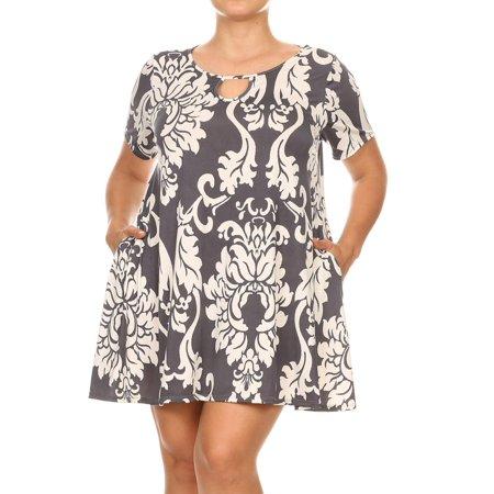 MOA COLLECTION Women's Pattern Print Relaxed Fit Keyhole Neck Side Pockets Plus Size Tunic Shirt Dress Dress Shirt Neck Size