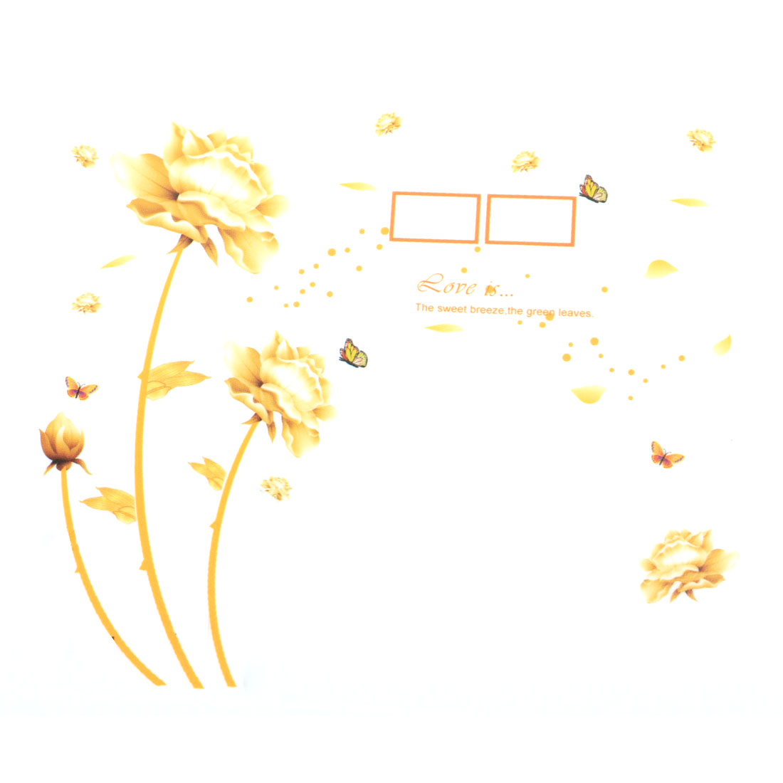 Decoration Flower Pattern Cabinet Wall Sticker Decal Yellow 90 x 60cm