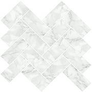 InHome Herringbone Carrara 10 in. x 10 in. Peel and Stick Resin Backsplash Tiles (4-Pack)