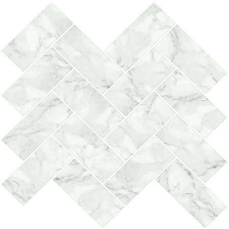 Brewster Herringbone Carrara Peel & Stick Backsplash Tiles White