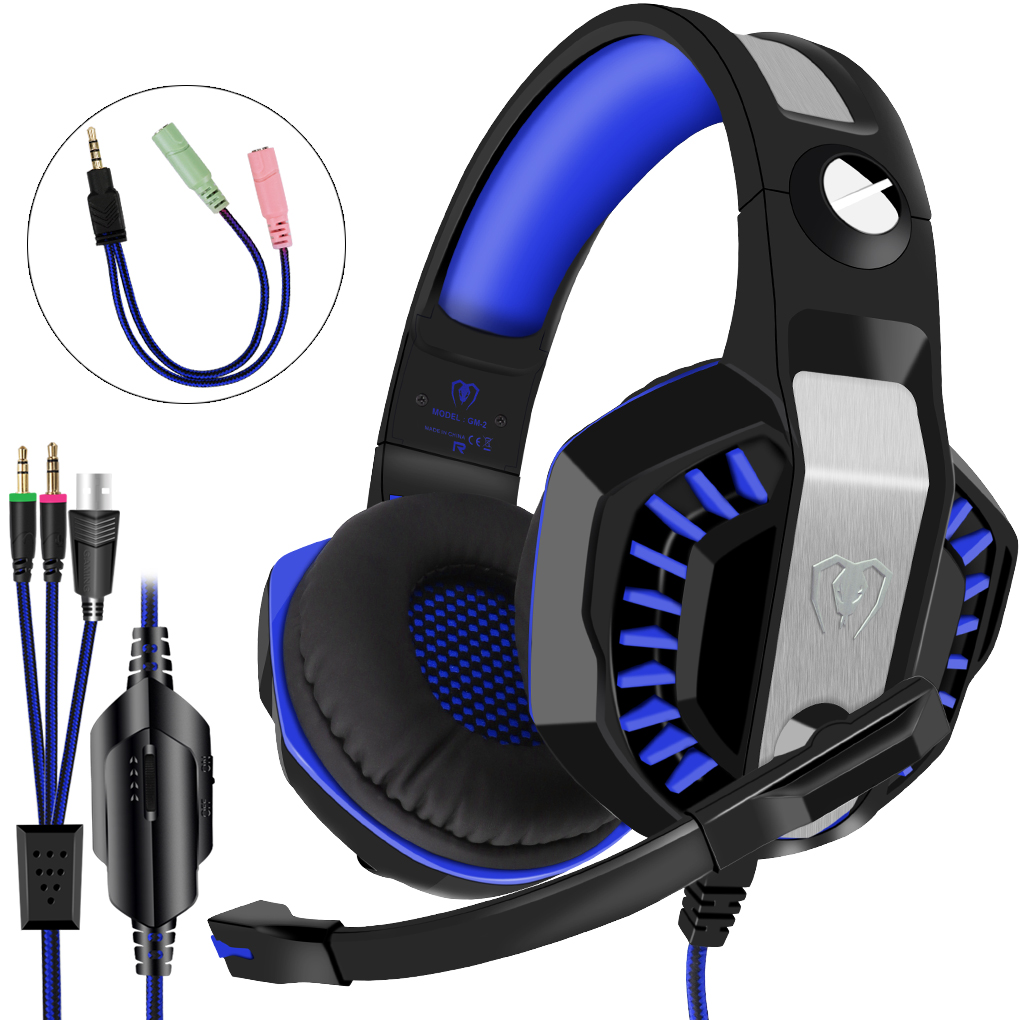 Beexcellent GM-2 Gaming Headset with Mic Noise Reduction Headphones with LED Lights Ear-Pads for PlayStation 4 Xbox One PC Laptops