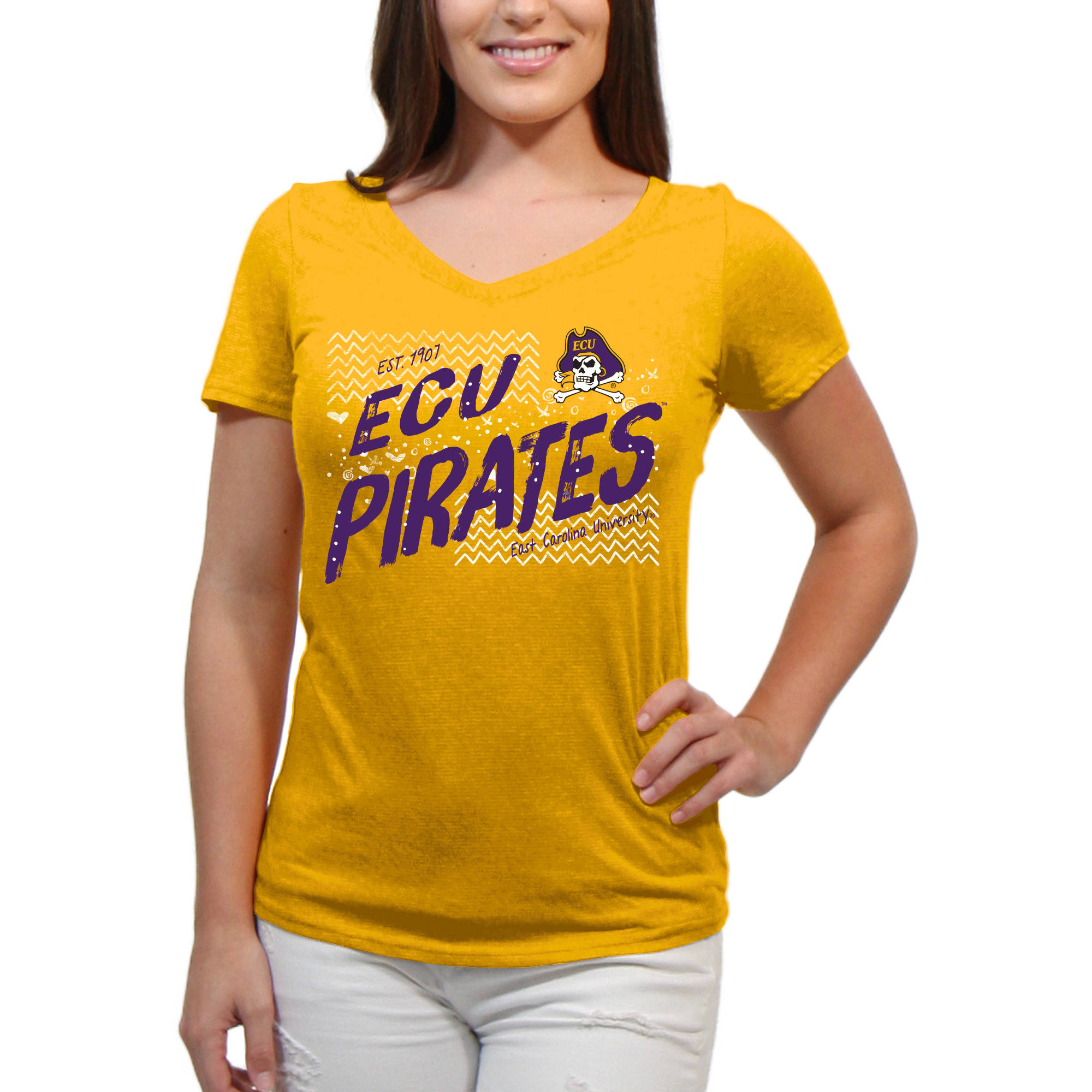 East Carolina Pirates Scatter Doodle Women'S/Juniors Team Short Sleeve V Neck Tee Shirt