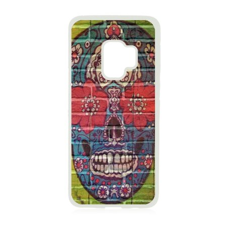 Sugar Skull Graffiti Wall Art Print Design White Rubber Case for the Samsung Galaxy s9+ - Samsung Galaxy s9 Plus Case - Samsung Galaxy s9 P Case