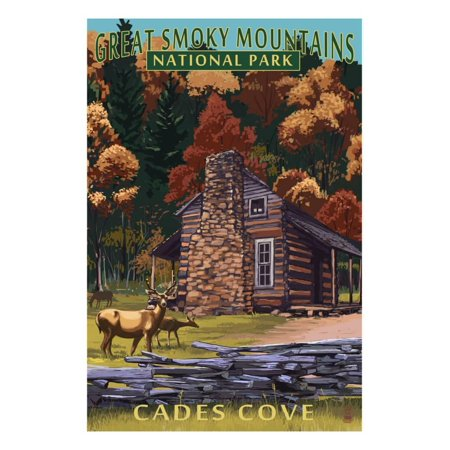 Cades Cove and John Oliver Cabin - Great Smoky Mountains National Park, TN Print Wall Art By Lantern