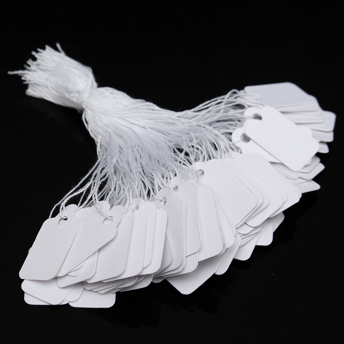 500 Pack Mini Price Tags, White Label Tie String Strung Jewelry Watch Display Merchandise Price Tags