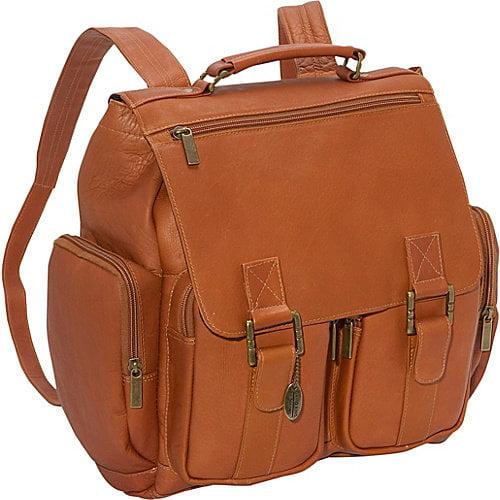Leather Laptop Backpack w 5 Zip Pockets & Adjustable Strap (Tan)