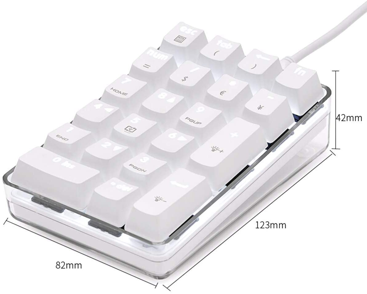 Number Pad Black Mechanical USB Wired Numeric Keypad with Blue LED ...