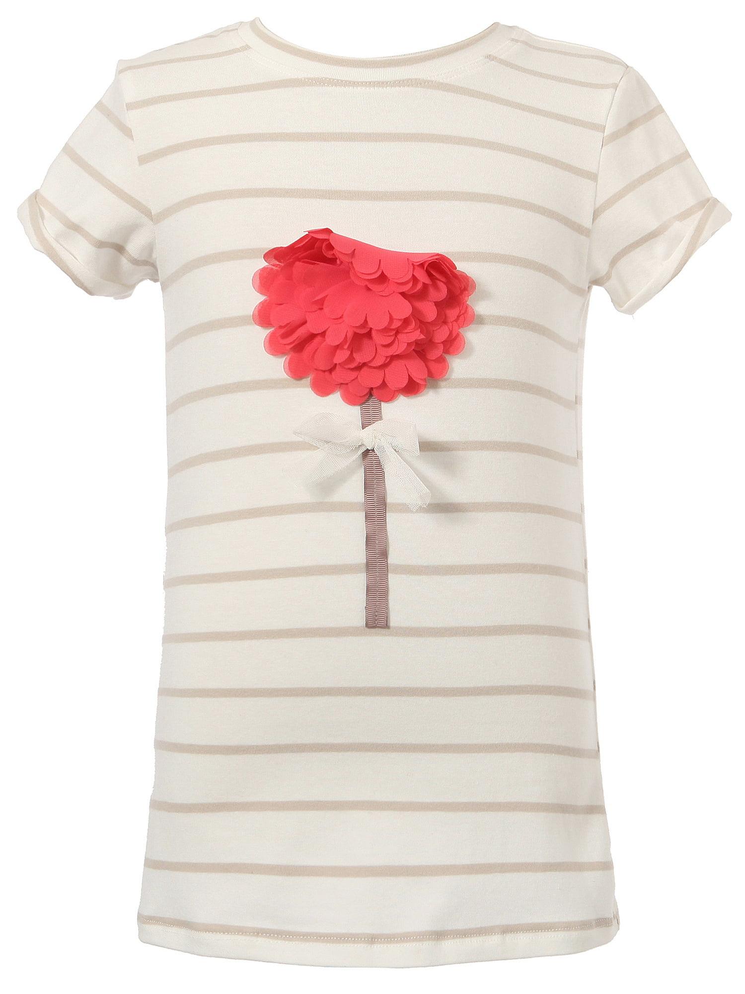 Richie House Girls' Striped Short Sleeve T-shirt with a Assembled Flower RH1870