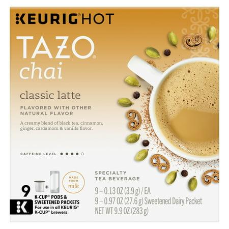 Tazo Chai latte Black tea K-Cup 9ct (Chai Latte Tea Kcup)