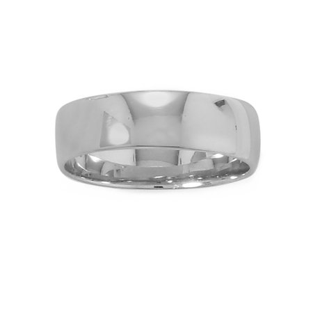 Wedding Band Ring 6mm Wide Polished Rhodium on Sterling Silver