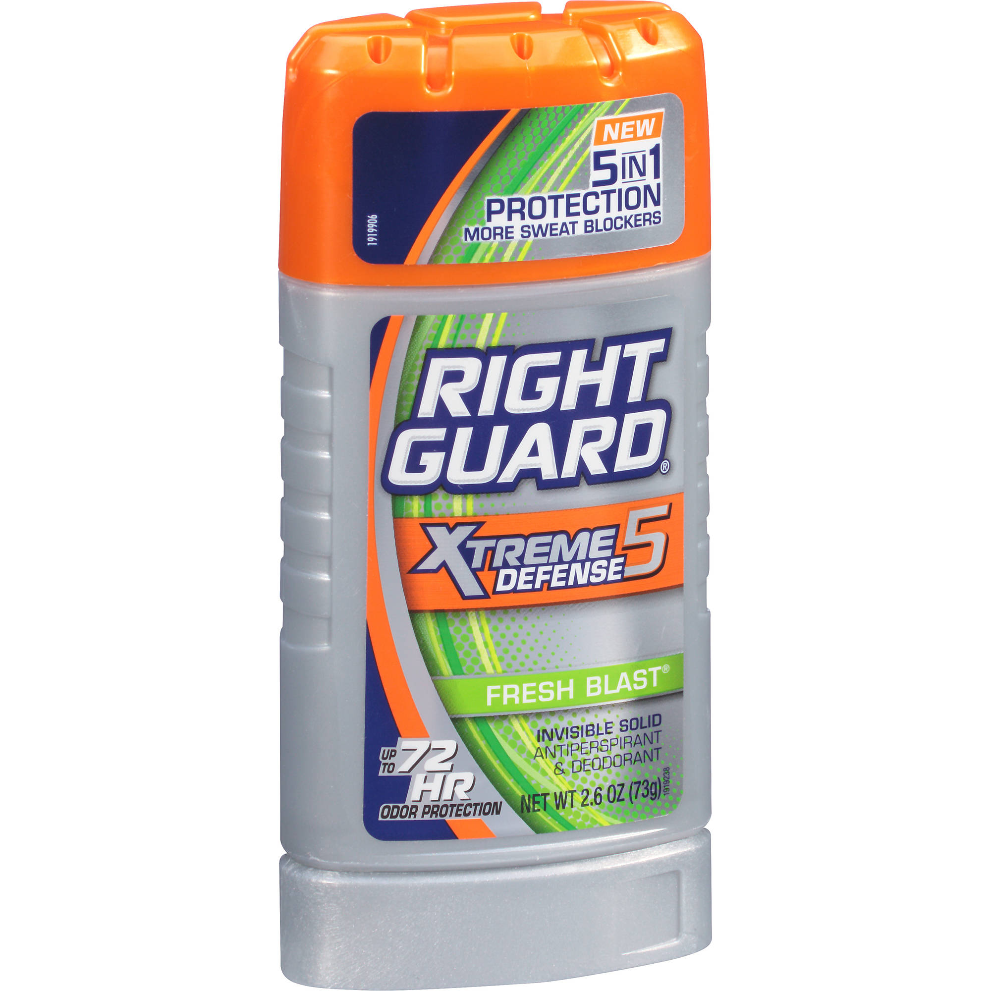 Right Guard Xtreme Defense 5 Antiperspirant Deodorant Invisible Solid Stick, Fresh Blast, 2.6 Oz