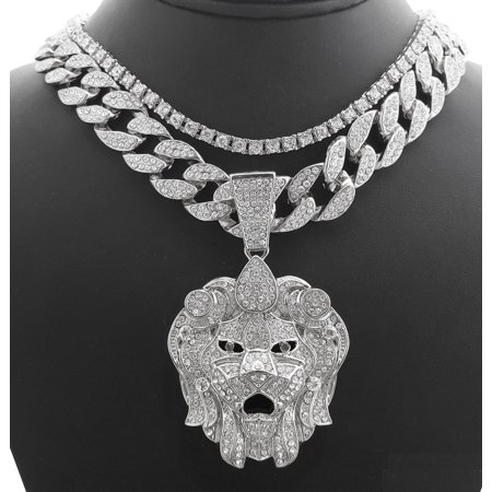 Hip Hop Bling White Gold Tone Plated Lion Head w/ 18