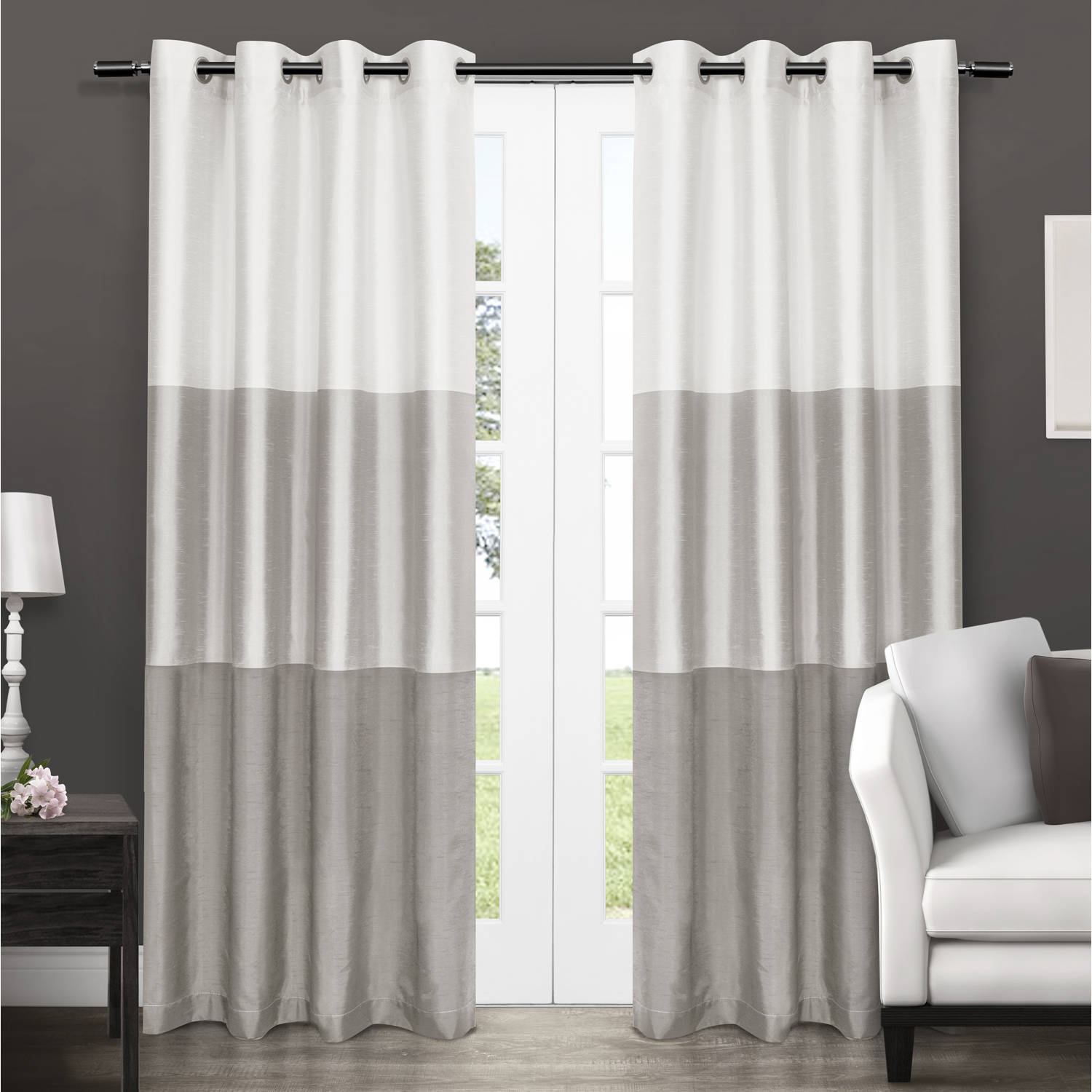 Exclusive Home Chateau Striped Faux Silk Grommet Top Window Curtain Panels - 54\  X 84 & Exclusive Home Chateau Striped Faux Silk Grommet Top Window Curtain ...