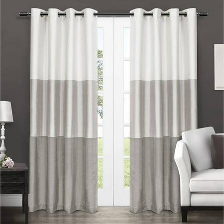Exclusive Home Chateau Striped Faux Silk Grommet Top Window ...
