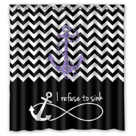 XDDJA Black Block Chevron Zigzag Infinity Anchor Quotes I refuse to Sink Shower Curtain Waterproof Polyester Fabric Shower Curtain Size 66x72 inches - image 1 de 1