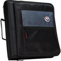 Case It Zipper Binder with Storage Flap, Black, 2 inch, M-276-BK