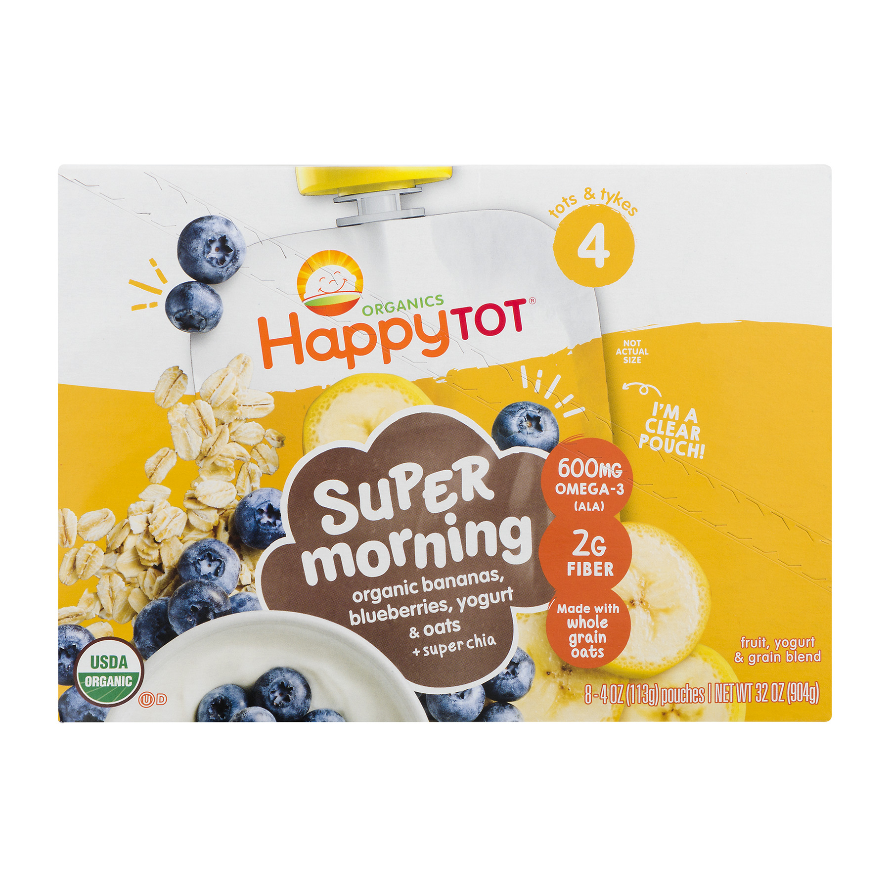 (8 Count) Happy Tot Organics Super Morning Bananas, Blueberries, Yogurt & Oats + Super Chia Organic Stage 4 Baby Food, 4 oz