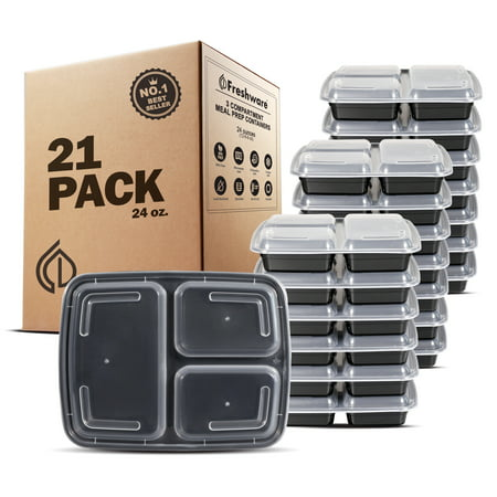 To Go Boxes (Freshware Meal Prep Containers 3 Compartments with Lids, Set of)