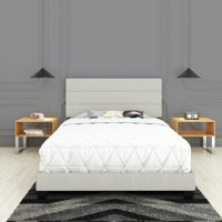 Premier Syracuse Upholstered Linen Tri Panel Platform Bed Frame with Headboard, White, Queen, Foundation or Box spring NOT required
