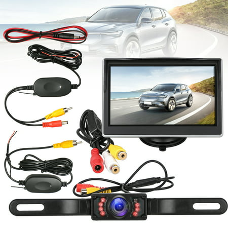 RV Digital Wireless Backup Camera System with 5 inch TFT LCD Monitor Truck Rear View Camera with Night Vision Waterproof Parking Guide Lines for (Best Wireless Backup Camera System)