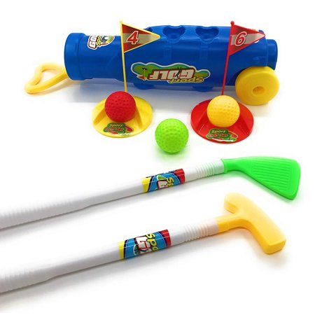 - Deluxe Kid's Toy Golf Set w/3 Golf Balls, 2 Types of Clubs, 2 Practice Holes, 2 Flags & Golf Caddy Club Holder, Sport Children's Golf Play Set