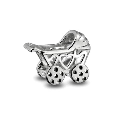 Bling Jewelry Baby Carriage Sterling Silver Charm Heart Bead