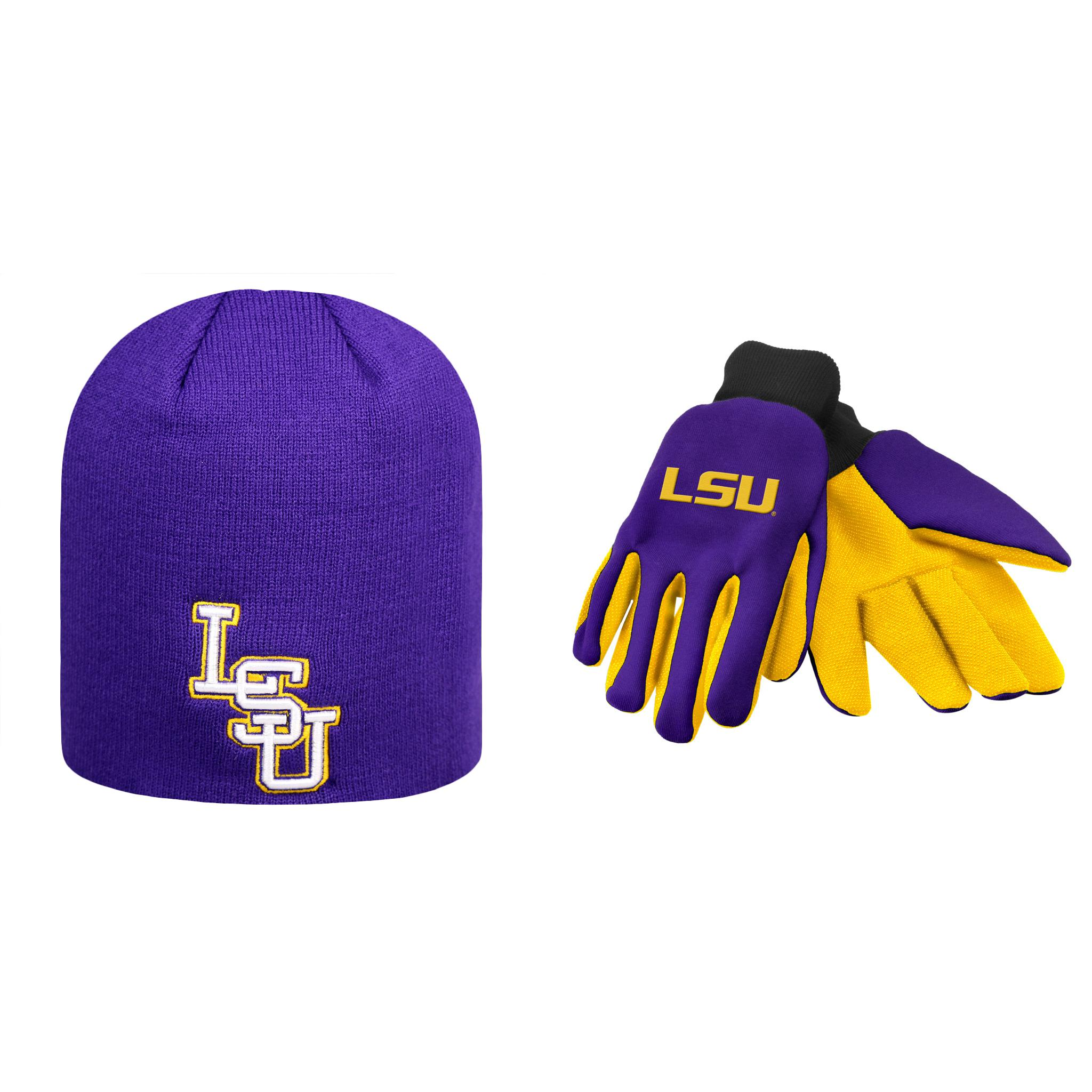 save off 034f6 04c60 ... italy ncaa lsu tigers classic beanie hat and grip work glove 2 pack  bundle baa3b 51aaa ...