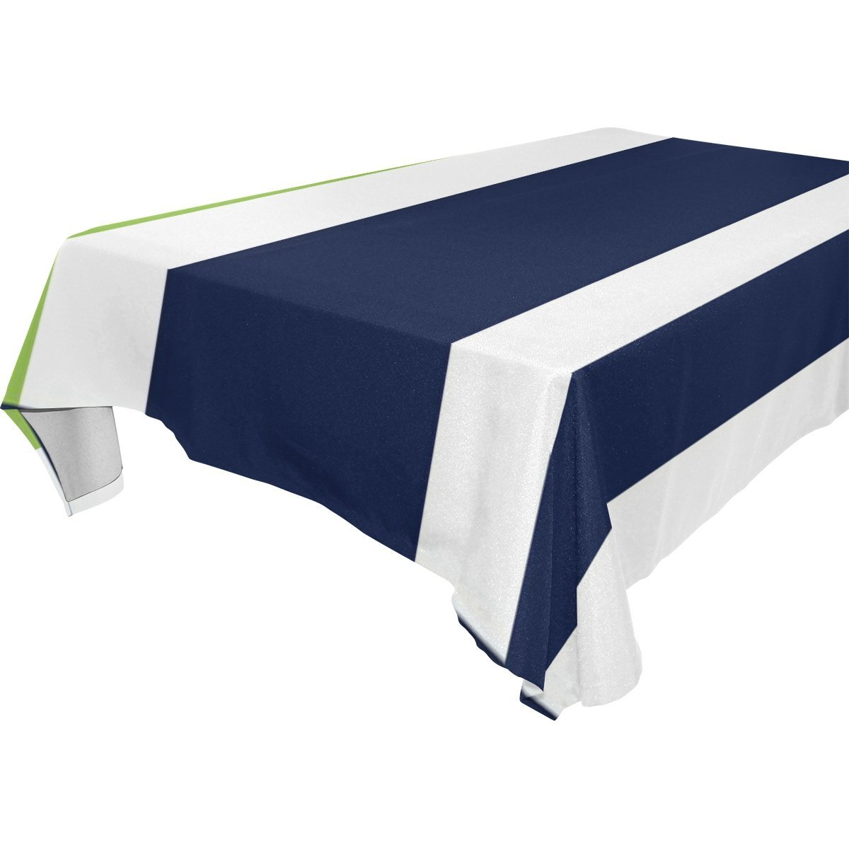 POPCreation Blue Green White Stripe Tablecloth 60x104 Inches   Walmart.com