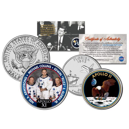 APOLLO 11 SPACE MISSION 2-Coin Set US Quarter & JFK Half Dollar NASA ASTRONAUTS