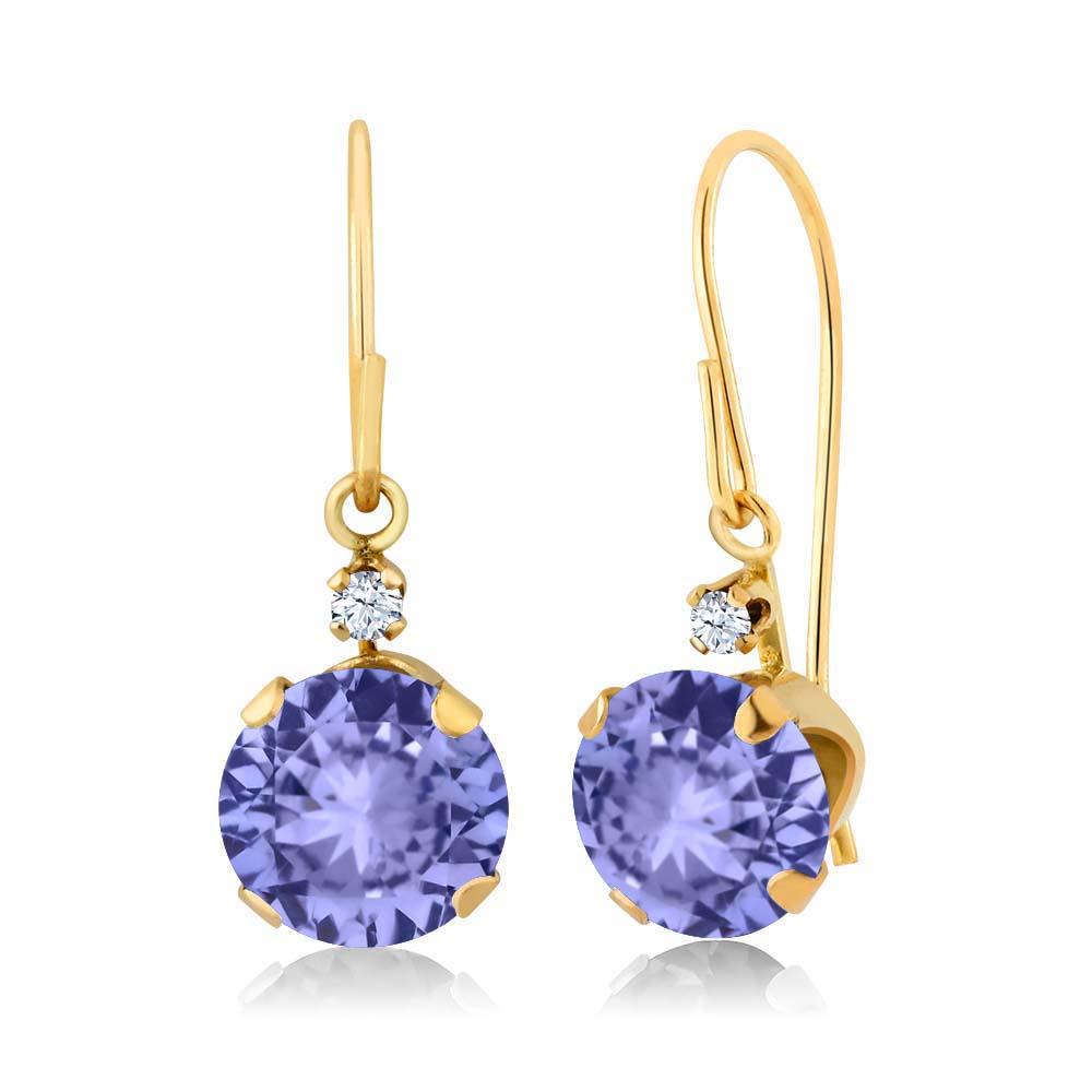 1.84 Ct Round Blue Tanzanite White Topaz 14K Yellow Gold Earrings