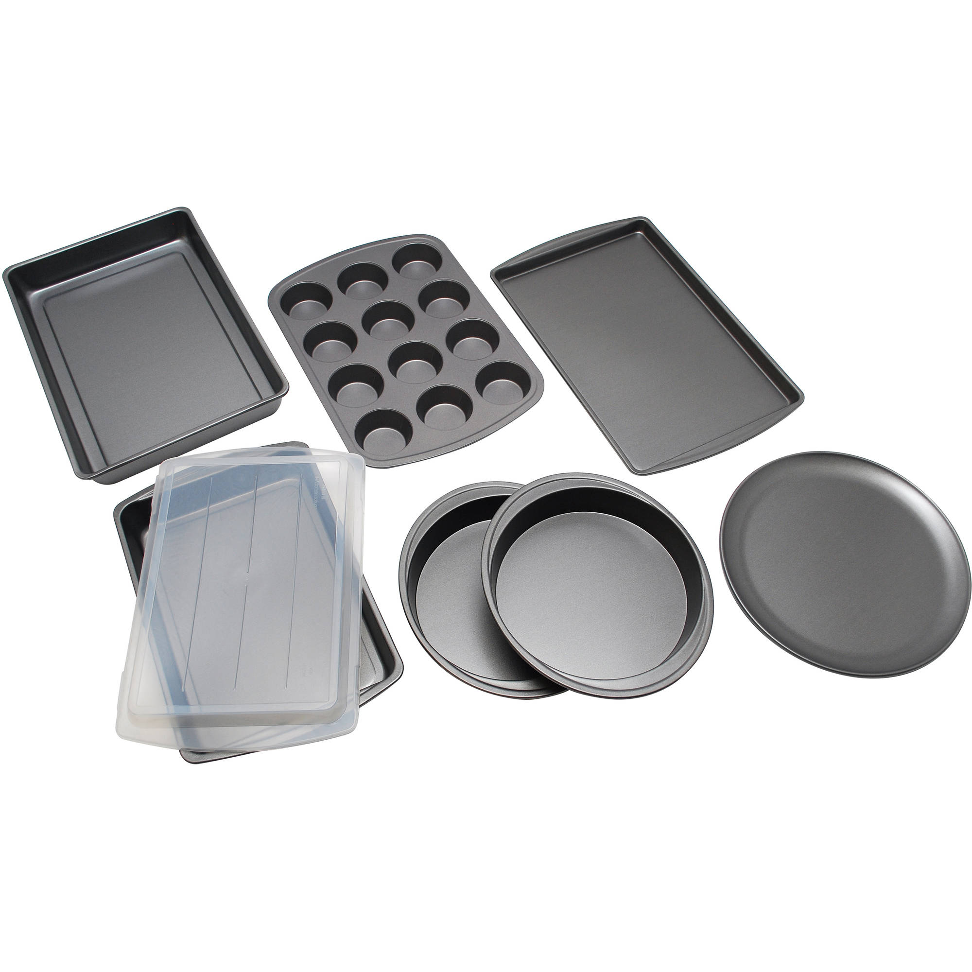 Mainstays 8 - Piece Bakeware Basics Set, Grey