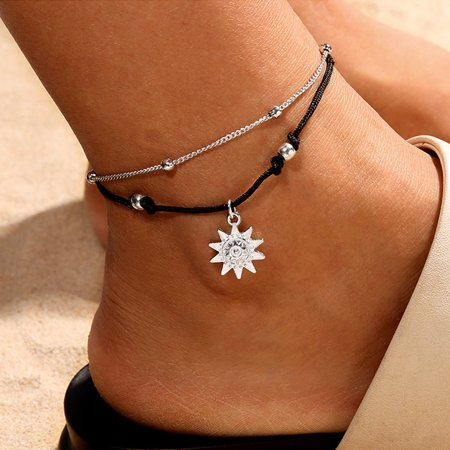 Outtop Double Chain Sun Anklet Jewelry Beach Section Anklets Beads Boho Foot Gothic Bo