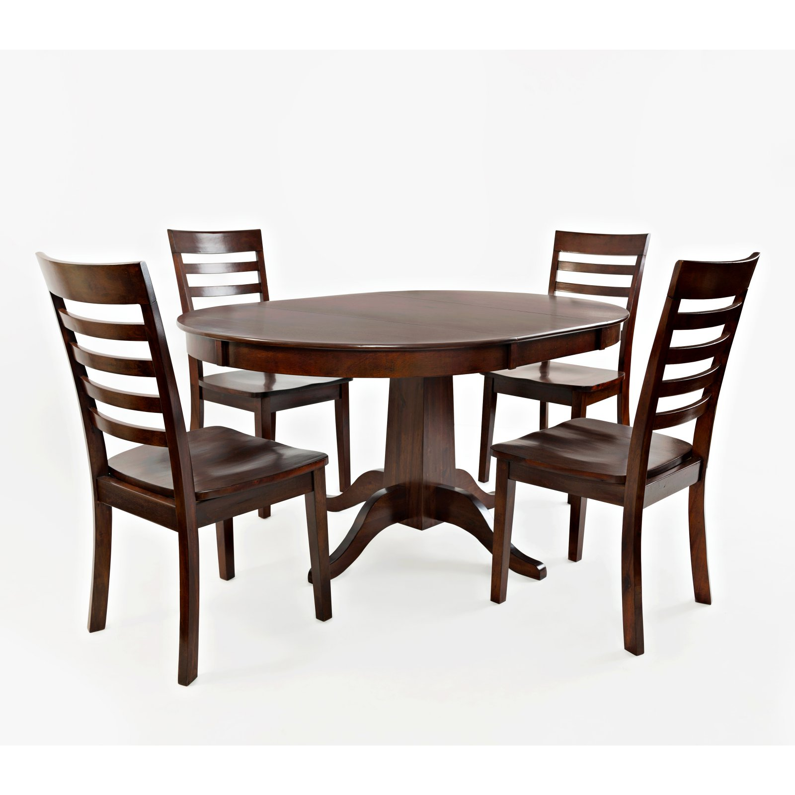 Jofran Everyday Classics 5 Piece Round Extension Dining Table Set with Ladder Back Chairs