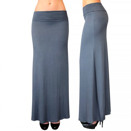 Women Maxi Skirt Waist Foldover Solid Full Long Jersey Lightweight Rayon Spandex