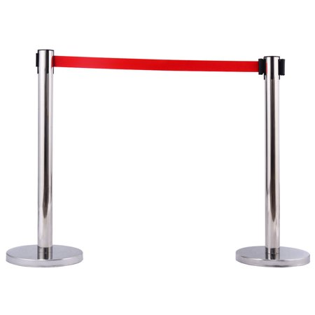 Zimtown 2Pcs Stanchion Posts Queue Pole Retractable Red Belt Crowd Control Barrier New