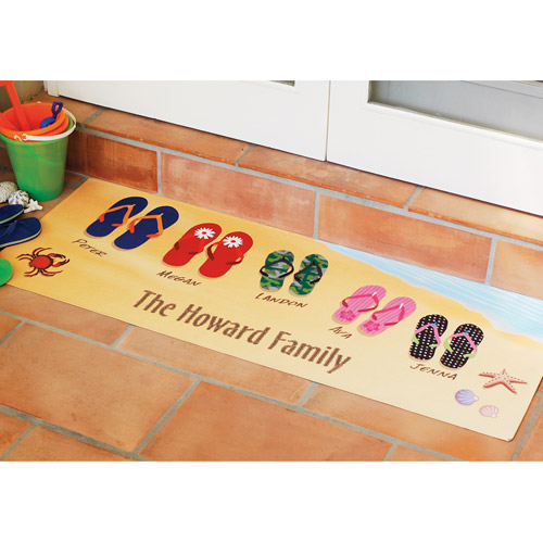 """Personalized Flip Flops Family Doormat, 24"""" x 36"""""""