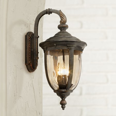 John Timberland Vintage Outdoor Wall Light Fixture Bronze Metal 20 1 2 Champagne Hammered Gl For Exterior House Porch Patio
