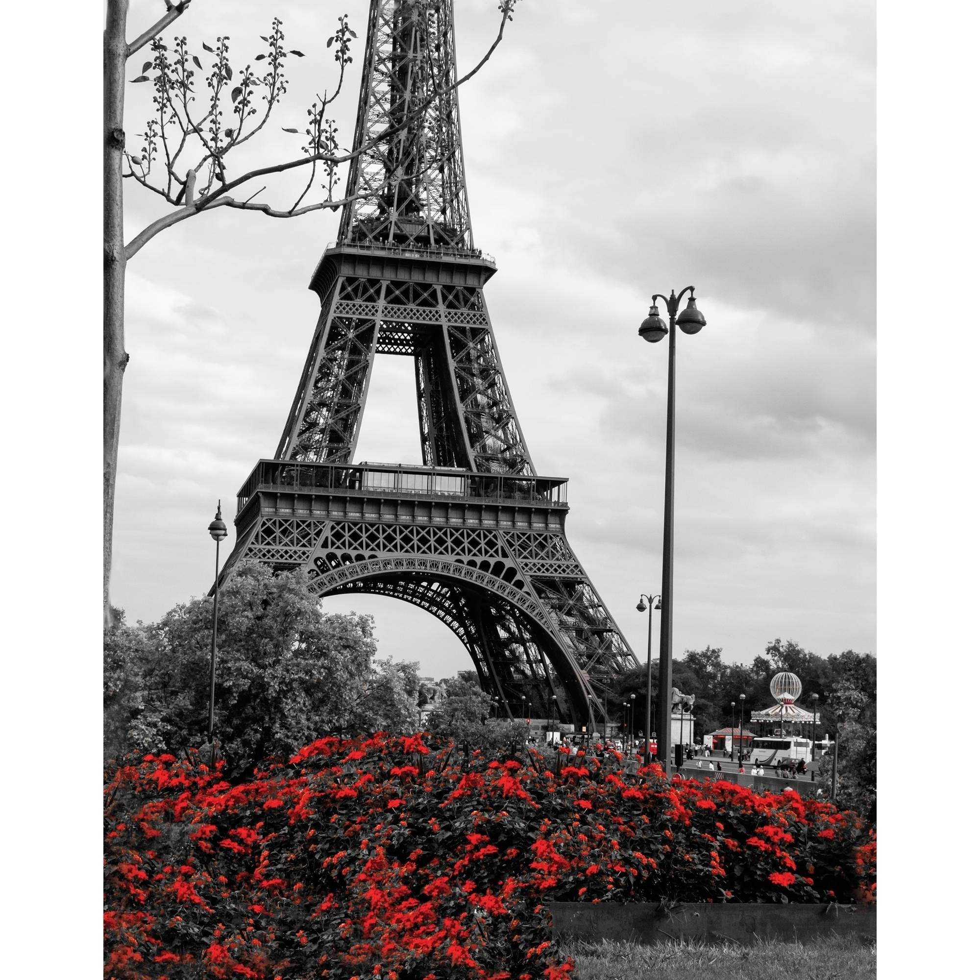 "15"" x 19"" Eiffel Tower with Red Pop Wall Art"