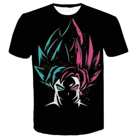 Fancyleo Men Print T-Shirt Goku Digital T Shirt Goku Graphic Printed Top Anime Z Dragon Ball 3D Print Tee](Anime Male Clothes)