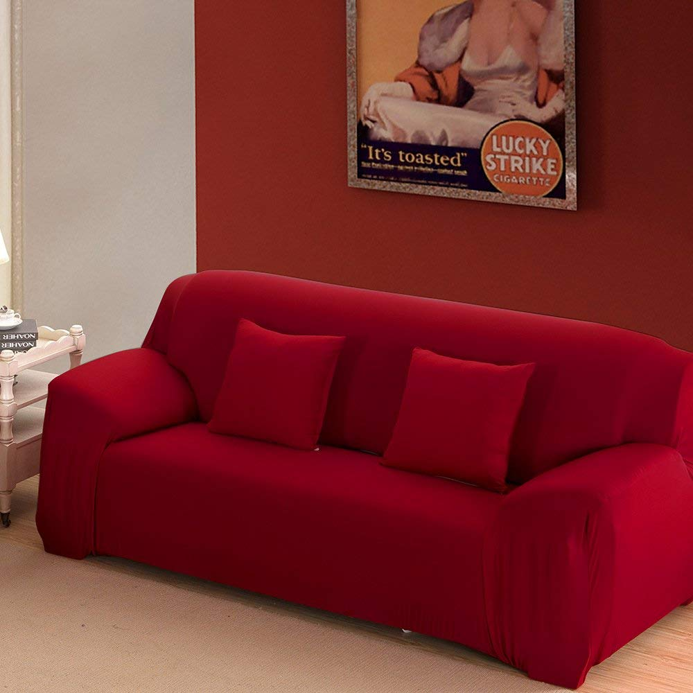 7 Solid Pure Colour Home Couch Slipcover Stretch Sofa Cover 3 Seater