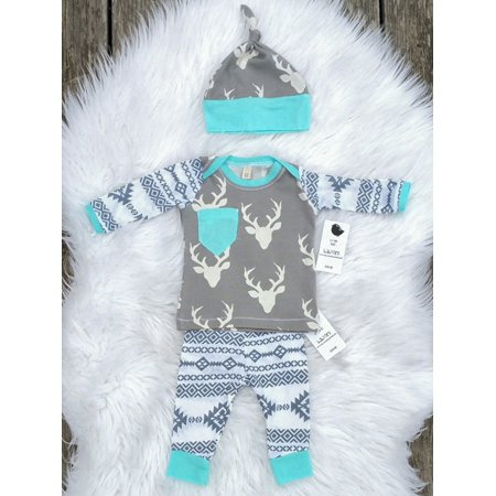 fecaff4750f Newborn Baby Girls Boy Deer Long Sleeve Tops T-shirt Pants Hat 3pcs Outfits  Set - Walmart.com