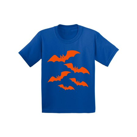 Halloween Trick Or Treating Cartoon (Awkward Styles Orange Bats Tshirt for Kids Halloween Bats Shirt Girls Halloween Shirt Funny Cartoon Bats T Shirt Holiday Gifts for Boys Halloween Party Outfit Family Trick Or Treat Youth)
