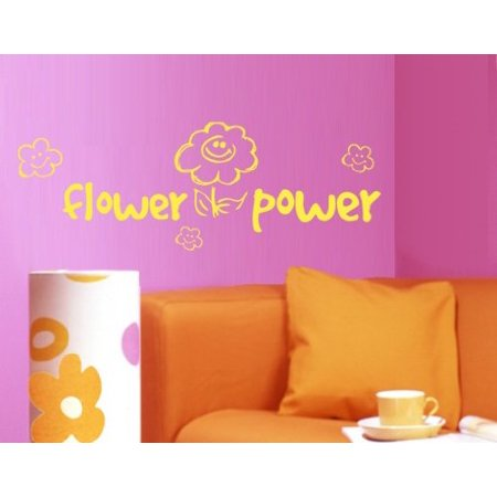 Flower Power Wall Decal - wall decal, sticker, mural vinyl art home decor - 1292 - White, 12in x 4in Flower Power Decals