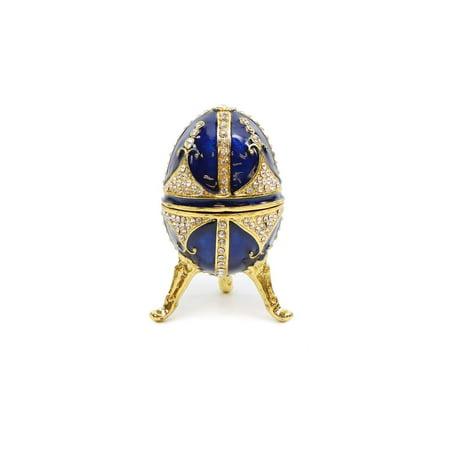 Trinket Jewelry Box with Swarovski, Decorative Faberge Egg Small 4 Inch (Blue)